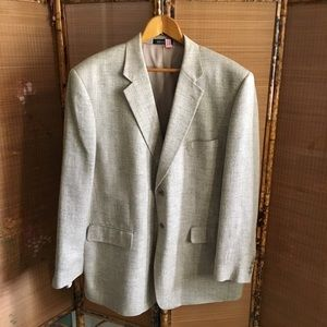Stafford gray herringbone raw silk suit jacket
